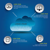 Cloud computing concept, Vector illustration — Stockvector