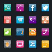 ícones de mídia social popular — Vetorial Stock