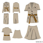 Collection of dress safari style, Vector illustration — Vector de stock