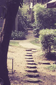 Stone block walk path in the park Vintage style with retro filte — Stock Photo