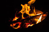 Fire on furnace — Stock Photo