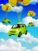 Green car with Yellow Balloons — Stock Photo