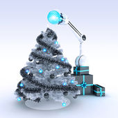 Robot and Christmas tree — Stock Photo