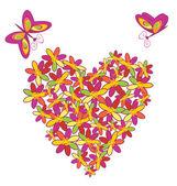 Heart floral shape — Stock Vector