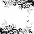 Vector de stock : Floral banner (black and white)