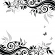 Stock Vector: Floral banner (black and white)