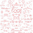 Set of valentine ribbons - Stock Vector