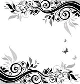 Floral banner (black and white) — Vettoriale Stock