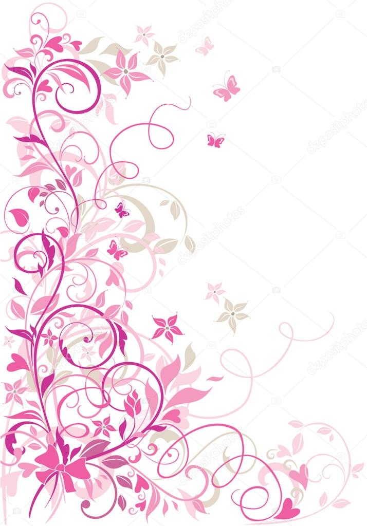 Valentine floral border — Stock Vector #19457543