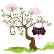 Royalty-Free Stock Vector Image: Vintage card with greeting tree