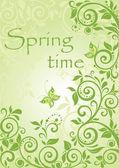 Banner vertical verde primavera — Vector de stock