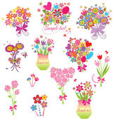 Funny greeting bouquets — Stock Vector