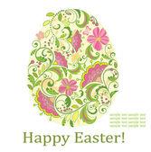Dekoratif paskalya yumurtası ile tebrik kartı — Stok Vektör