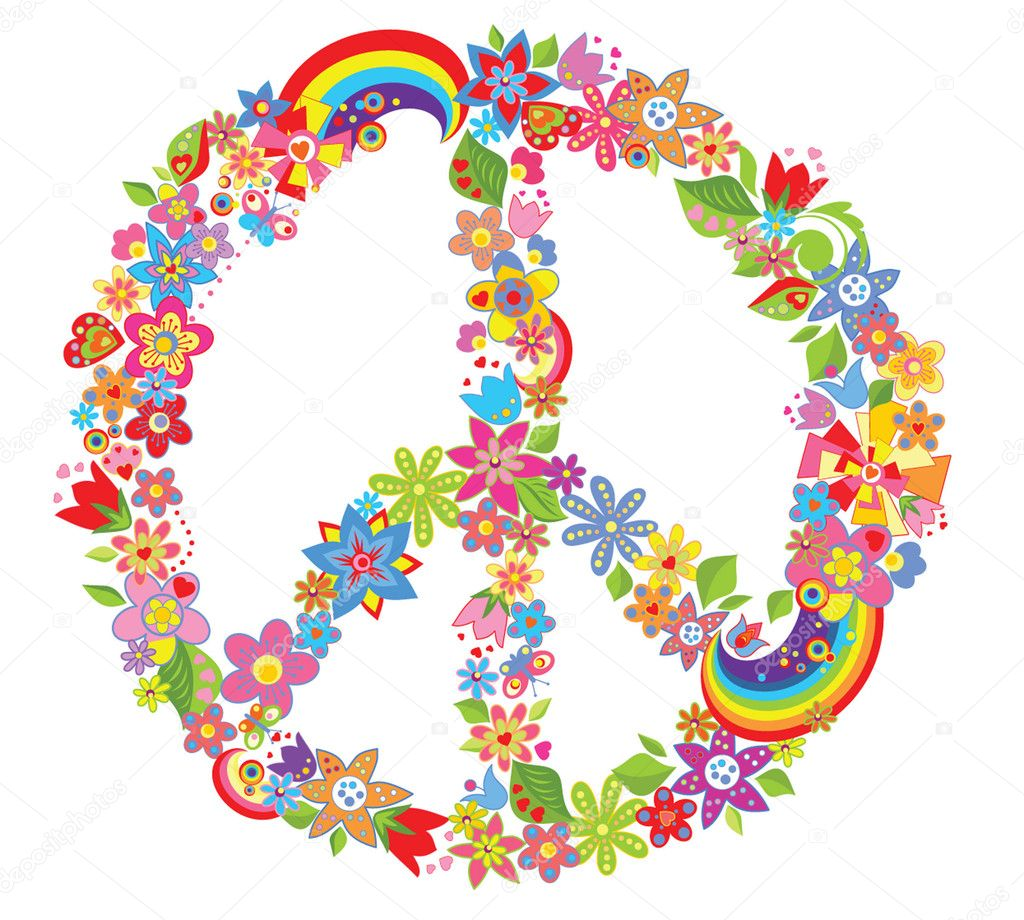 Peace flower symbol — Stock Vector © antonovaolena