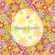Stock Vector: Easter card with flowers