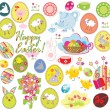 Set of easter labels - Stock Vector