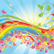 Flowers and rainbow - Stock Vector