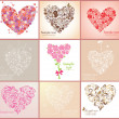 Beautiful greeting cards with hearts — Stok Vektör
