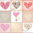 Beautiful greeting cards with hearts — Stock Vector