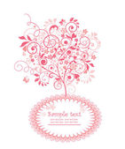 美しいピンクの木付きのラベル — Stock vektor