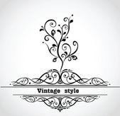 Carta d'epoca con albero decorativo — Vettoriale Stock