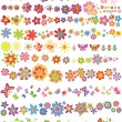Set of flowers and butterflies - Stock Vector