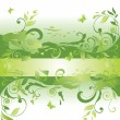 Green floral banner — Stock Vector