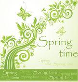 Tarjeta verde primavera — Vector de stock