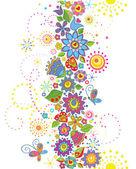 Seamless funny floral border — Stock Vector