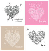 Beautiful lacy greeting cards — Stock Vector