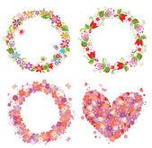 Forma di corona e cuore fiore — Vettoriale Stock