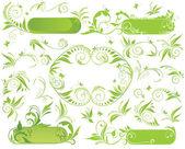 春のバナーと花の要素 — ストックベクタ