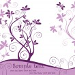 Vector de stock : Violet floral card