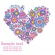 Greeting card with floral decorative heart — Imagen vectorial