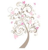 Bella cartolina d'auguri con albero — Vettoriale Stock