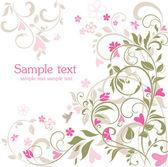 花のレトロなカード — ストックベクタ