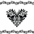 Stock Vector: Greeting card with decorative heart (black and white)