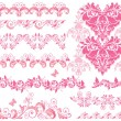 Royalty-Free Stock Vector Image: Pink floral seamless borders