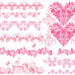 Pink floral seamless borders — Stock Vector