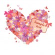 Greeting floral heart — Stock Vector