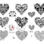 Black decorative hearts — Stock Vector