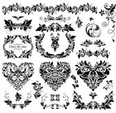 Floral design with heart shapes (black and white) — Stockvector