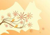 Autumn tree with bird — Stock Vector