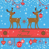 Greeting xmas card with deer — Stock Vector