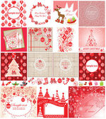 Xmas red cards — Stock Vector