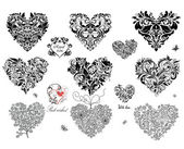 Black decorative hearts — Stock Vector