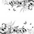 Floral banner (black and white) — Stock Vector #19832345