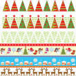 Seamless christmas borders — Vector de stock