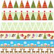 Seamless christmas borders — Stock Vector