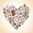 Vintage floral heart - Stock Vector
